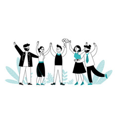 business team with trophy flat people reward vector image