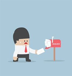 Businessman got a lot of mail in mailbox vector