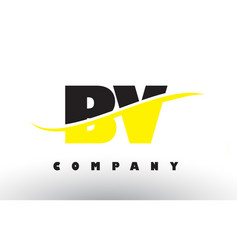 Bv b v black and yellow letter logo with swoosh vector