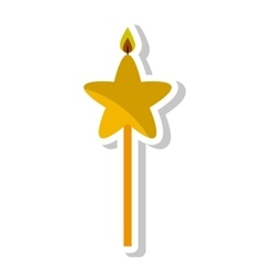 Candle flame star birthday isolated icon vector