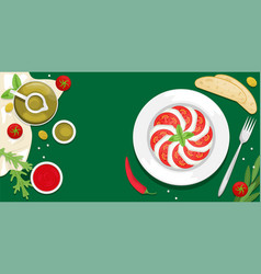 Caprese with basil leaves ketchup cherry tomatoes vector