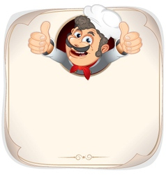 Cartoon chef with menu background vector