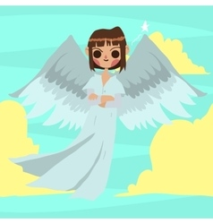 Cartoon funny angel man mascot vector