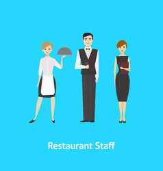 cartoon restaurant staff man and woman card vector image