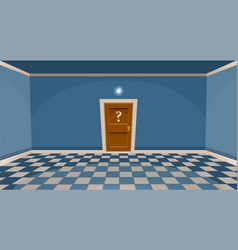 Cartoon secret door concept empty room with door vector