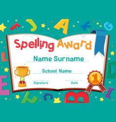 Certificate template for spelling award vector