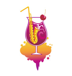 cocktail with straws in the form of saxophone vector image