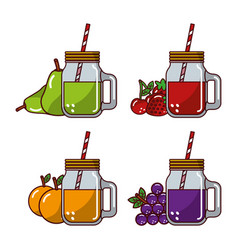 Collection fruits juices glass straw fresh natural vector