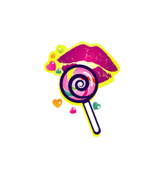 Colorful lollipop with lips logo symbol icon vector