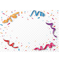colorful ribbon and confetti vector image