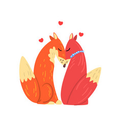 couple of red foxes in love two happy wild vector image