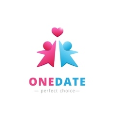couple with heart logo Brand sign vector image