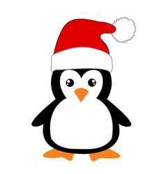 Cute cartoon penguin on white background vector