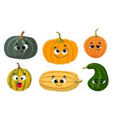 cute cartoon pumpkin harvest time fresh farm vector image