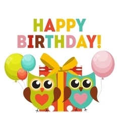 Cute Owl Happy Birthday Background with Gift Box vector image
