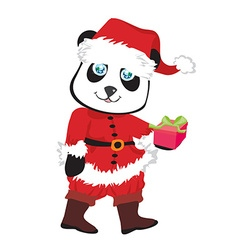 Cute panda bear in red Santas costume isolated vector