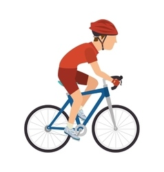 Cyclist man riding sport bike vector