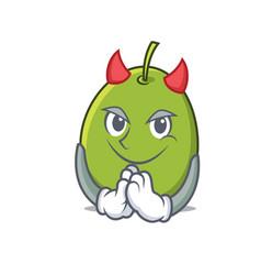 Devil olive mascot cartoon style vector