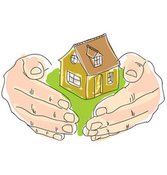 Drawn colored humans hands holding house vector
