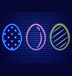 Easter neon eggs symbol seasonal holiday vector