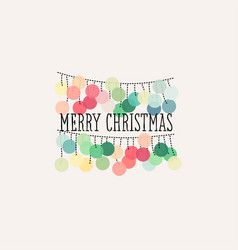 elegant christmas card with pastel pom pom garland vector image