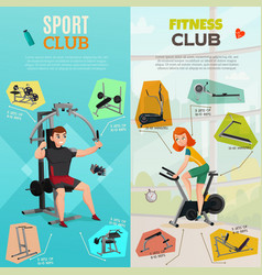 Exercise equipment banners vector