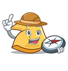 Explorer fortune cookie mascot cartoon vector