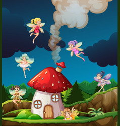 fairy at mushroon house vector image