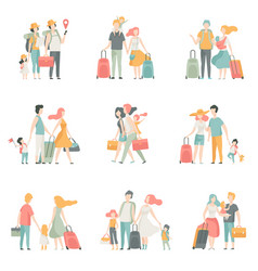 family travel set father mother and kids vector image