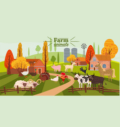 farm animals and birds set in trendy cute style vector image