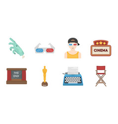 films and cinema icons in set collection for vector image