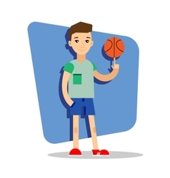 Flat basketball player with ball in the hand vector