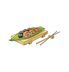 Flat sushi with sticks vector