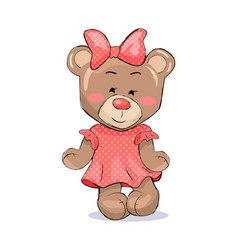 Fluffy bear female animal in pink dotted dress bow vector