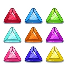 Funny cartoon colorful triangle shape gems vector