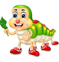 Funny green white caterpillar wearing red shoes vector