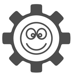 Gear happy smile flat icon vector