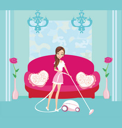 girl with wireless vacuum cleaner vector image