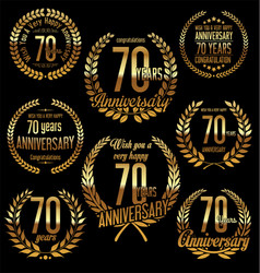 Golden laurel wreath anniversary collection 70 vector