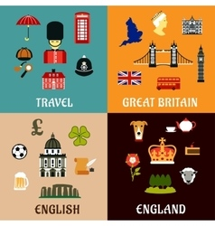 Great Britain travel landmarks flat icons vector image