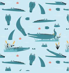 Hand drawing cute crocodile seamless pattern vector