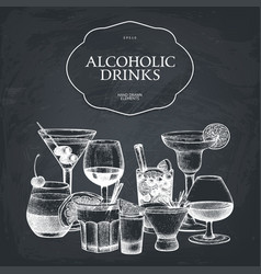 Hand drawn alcoholic cocktails vector