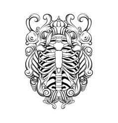 Hand drawn of human ribs with baroque frame vector