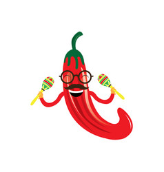 happy pepper with a pair of maracas vector image