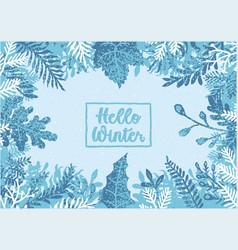 hello winter background vector image