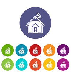 home icons set color vector image