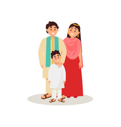 indian family in national clothes happy family vector image
