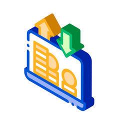 internet bank laptop coin isometric icon vector image