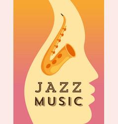 jazz music flat banner template vector image