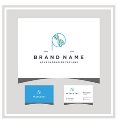 Letter p dna logo design with business card vector